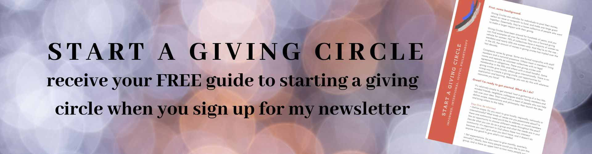 Start a giving circle